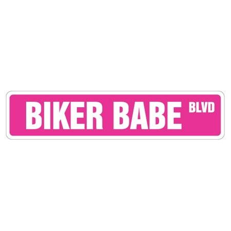 BIKER BABE Street Sign helmet motorcycle chick chic woman | Indoor/Outdoor | 24