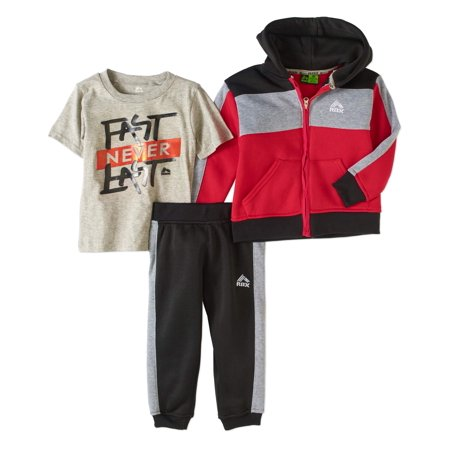 RBX Toddler Boys' Red Colorblock Hoodie, T-Shirt and Fleece Joggers Active 3-Piece Oufit Set
