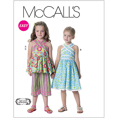 McCall's Pattern Children's and Girls' Top, Dress, Belt and Capri Pants, CL (6, 7, 8)