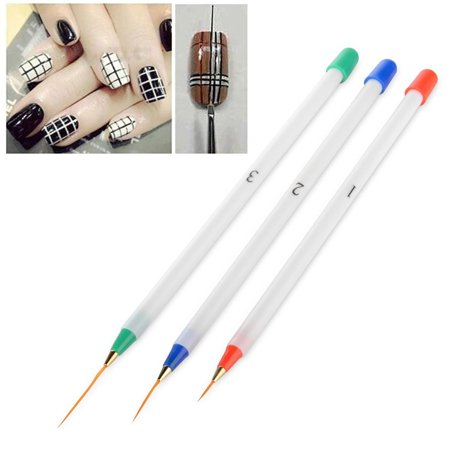 Zodaca 3-piece Set Nail Art Acrylic Drawing Painting Pen Kit Set Brushes Multi-color (1x 5.31