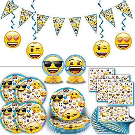 Centerpiece Ideas For Birthday Parties (Emoji Party Supplies for 16: Includes Plates, Napkins, Hanging Banner, Swirl Decorations,)