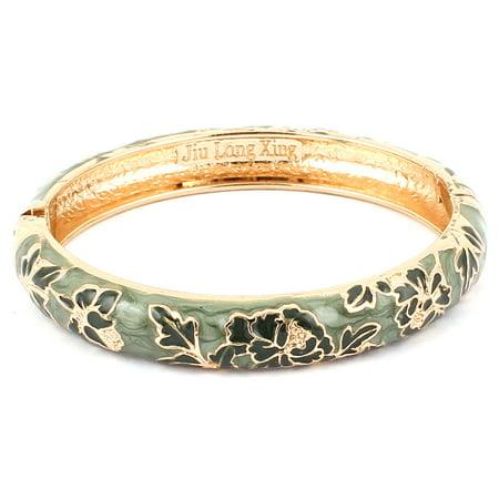 Unique Bargains Lady Gold Filled Enamel Flower Bracelet Bangle Wedding Party Gift