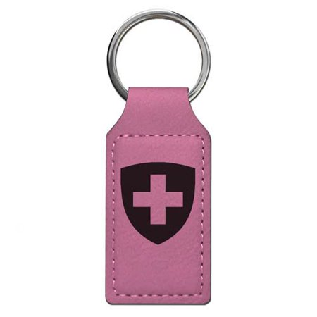 Keychain - Coat of Arms Switzerland - Personalized Engraving Included (Pink Rectangle)