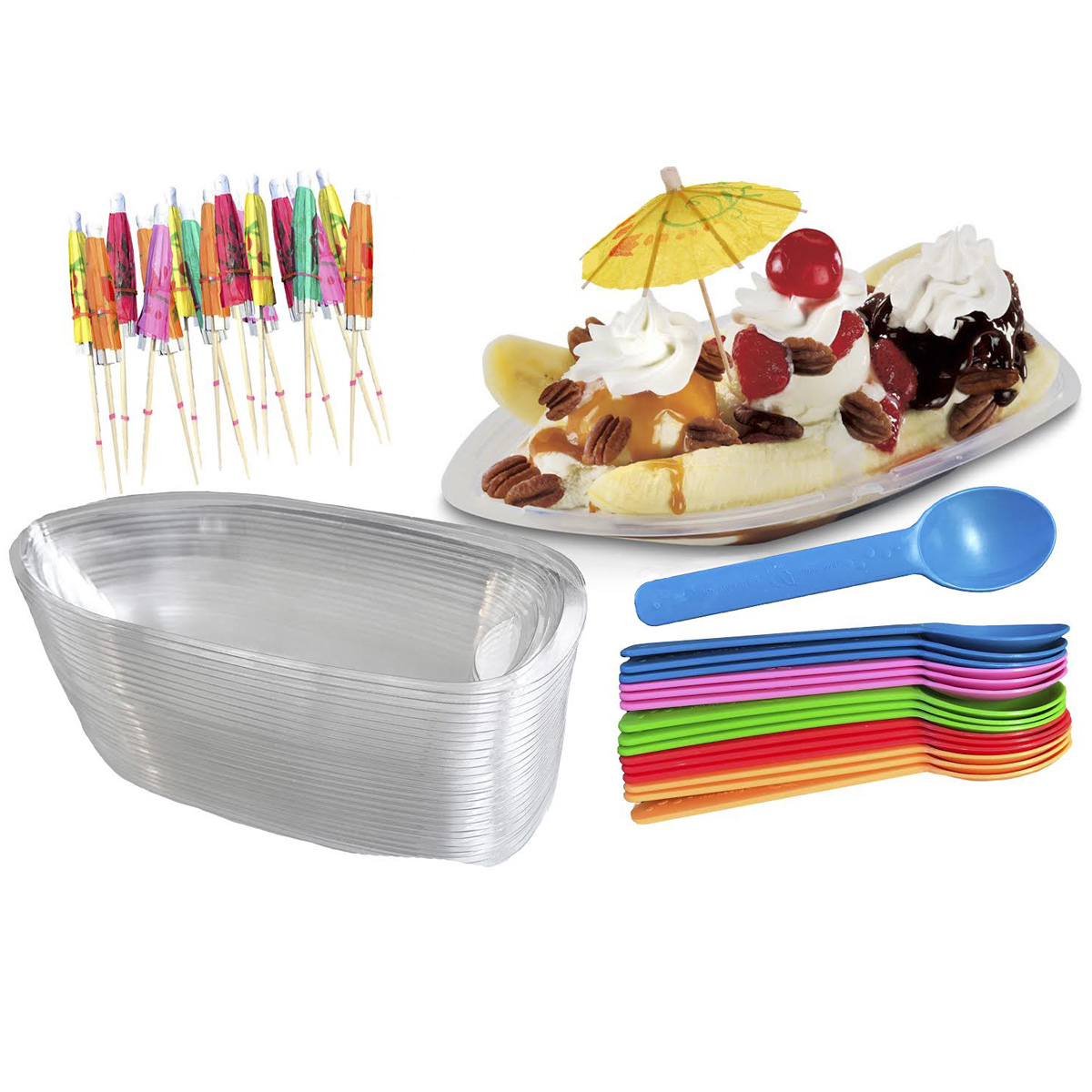 Clear Plastic Disposable 60 Pieces Banana Split Boat Container 8 oz
