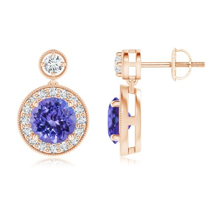 Mother's Day Jewelry Sale - Dangling Tanzanite and Diamond Halo Earrings with Milgrain in 14K Rose Gold (6mm Tanzanite) - SE1066TD-RG-AA-6