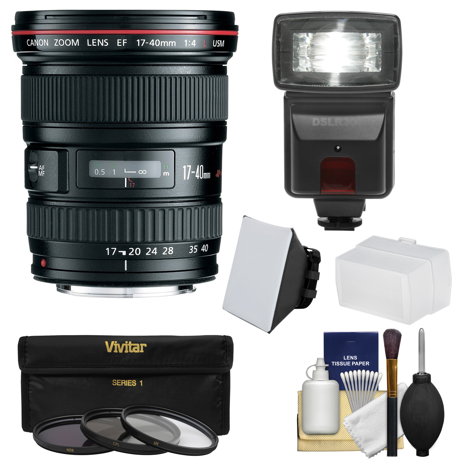 Canon EF 17-40mm f/4 L USM Zoom Lens with 3 Filters + Fla...