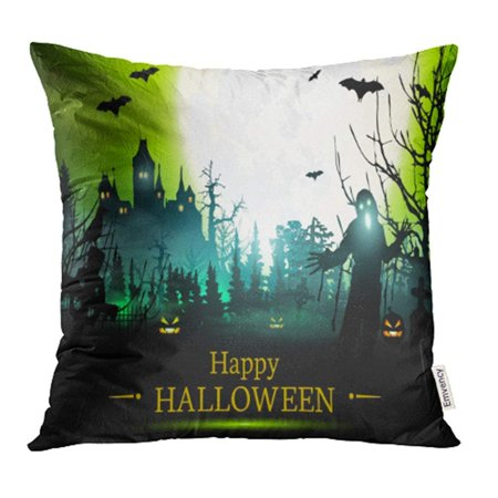CMFUN Party Halloween Scary Treat Trick Cemetery Pumpkin Abstract Autumn Pillow Case Pillow Cover 16x16 inch Throw Pillow Covers