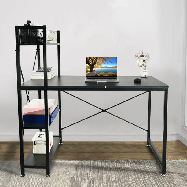 Office Computer Desk With Multiple Storage Shelves Modern Large Office Desk With Bookshelf And Storage Space Walmart Com Walmart Com