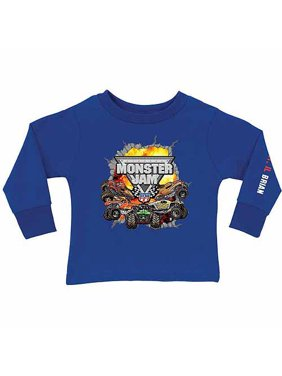 Personalized Monster Jam Challenge Boy's Royal Blue Long Sleeve Tee