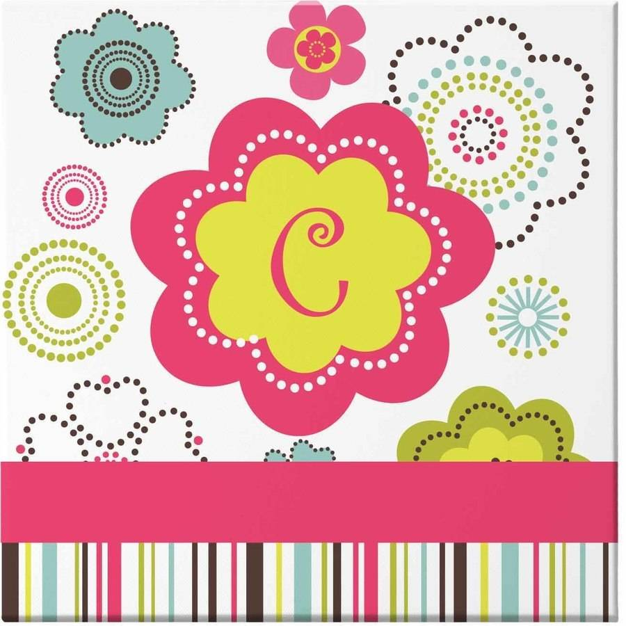 Personalized Fun Flowers Canvas, 16x16, Monogram