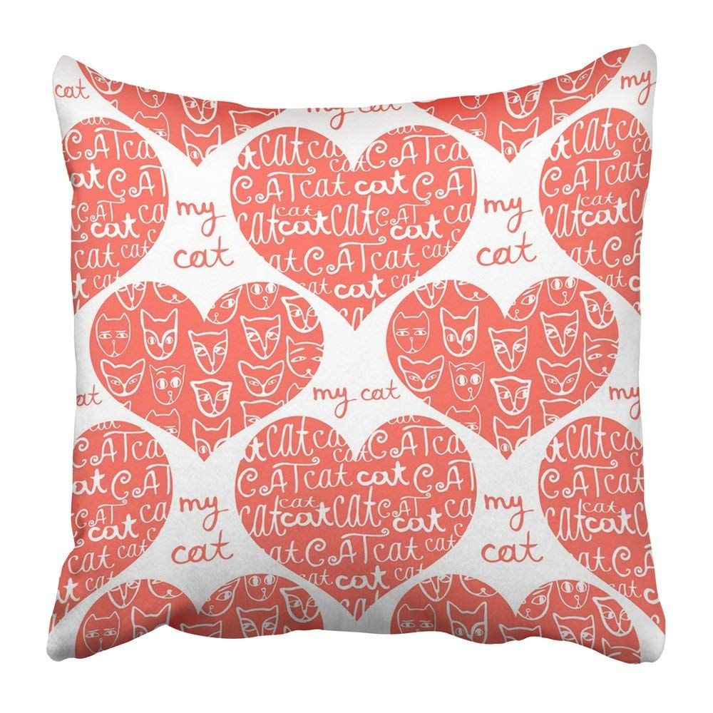 BPBOP Animal of Tender Red Hearts Decorated with White Cats and Inscriptions on Baby Book Cartoon Child Pillowcase Pillow Cover 18x18 inches