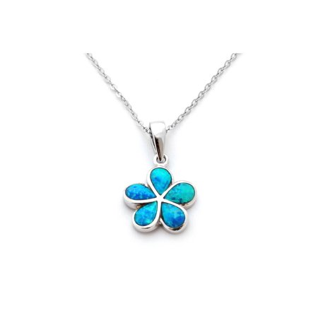 Solid Sterling Silver Rhodium Plated Blue Simulated Opal Hawaiian Flower Pendant Necklace (Hawaiian Flower Necklace)