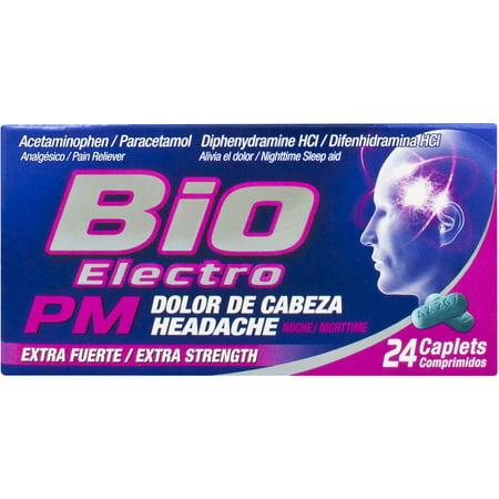 Bio Electro Extra Strength Pain Reliever Nighttime Sleep Aid Caplets  24 Ct