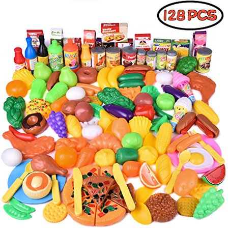 Grocery Kitchen Play Set For Kids Deluxe Pretend Food Cooking 128 Pcs
