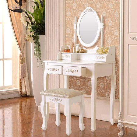 Ktaxon Elegance White Dressing Table Vanity Table and Stool Set Wood Makeup Desk with 4 Drawers & (Broadway Lighted Vanity Makeup Mirror & Desk Set)