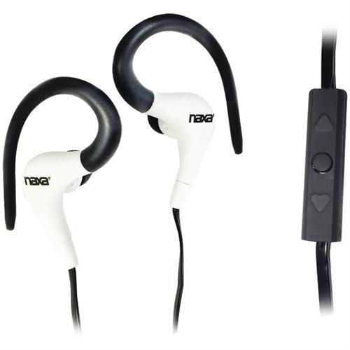 NAXA NE-935W Spirit Sport Earphones with Microphone, White