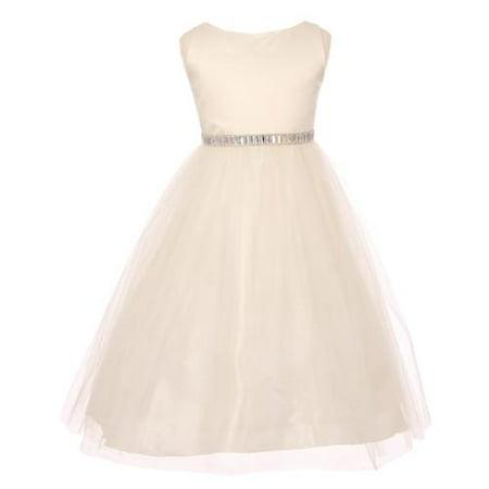 Big Girls Ivory Rhinestone Waistband Tulle Bridesmaid Dress 12](Girls Dresses 12)