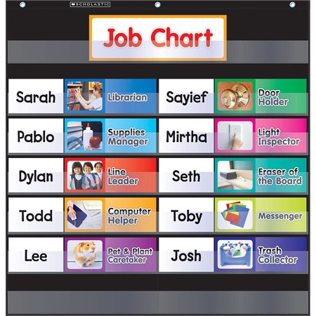 POCKET CHART CLASS JOBS BLACK](Black Pocket Chart)