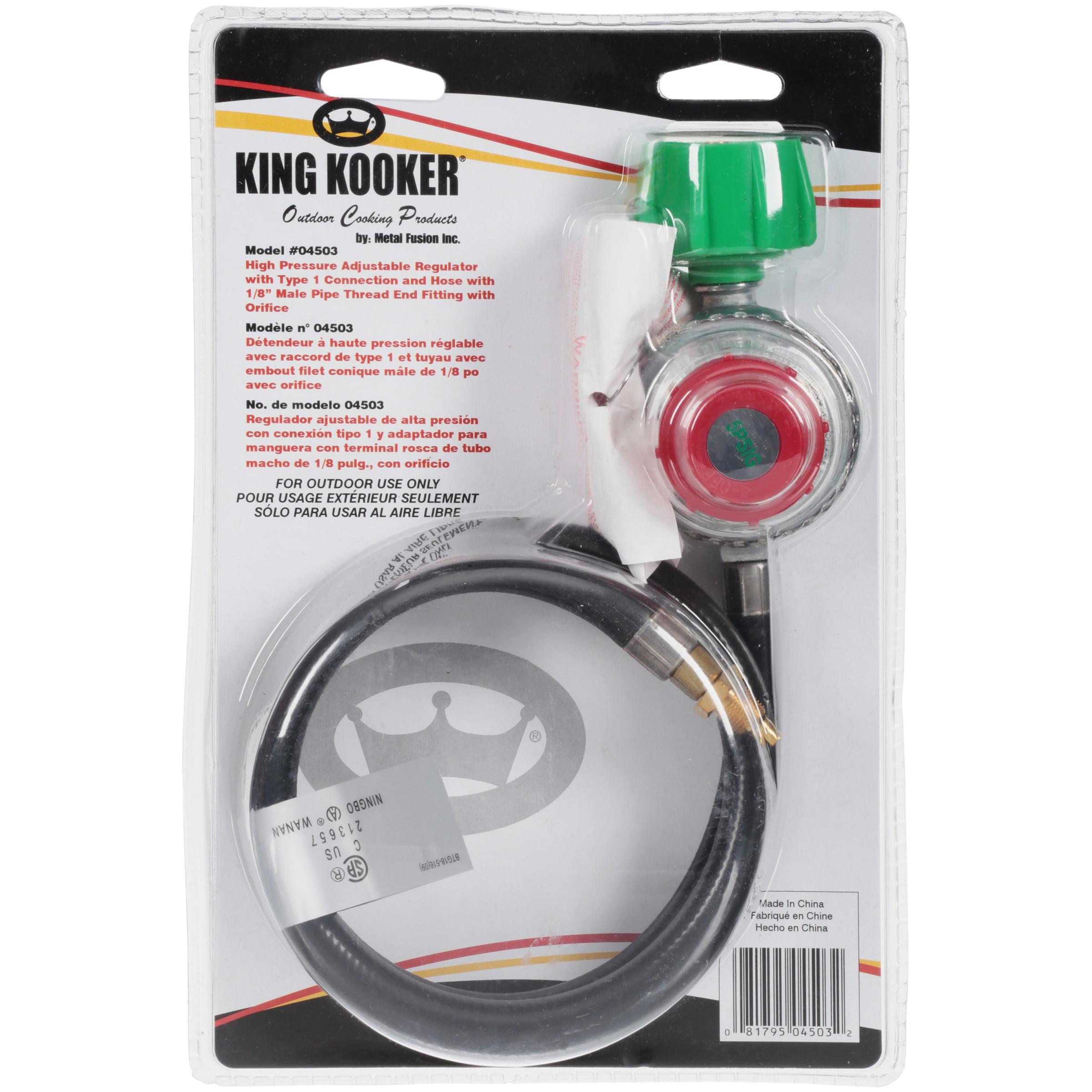 King Kooker High Pressure Grill Regulator Type 1 Connection Manual Valve 2 Hose