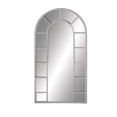 Large White Wood and Metal Arched Window Panel Wall Mirror by DecMode ()