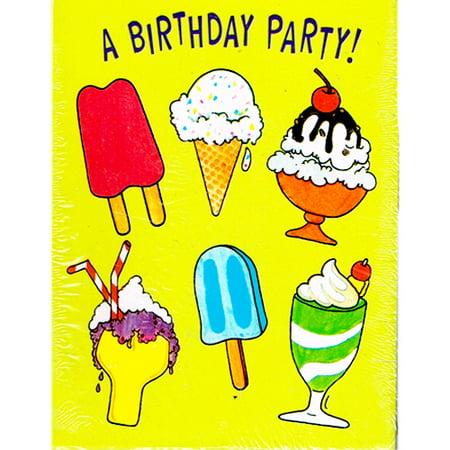 Ice Cream Birthday Invitations w/ Envelopes - Ice Cream Social Invitation