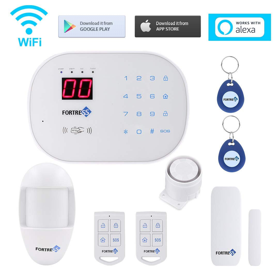DIY Security System App Controlled Updated S03 WiFi and Landline Security Alarm System Starter Kit Wireless DIY Home Security System by Fortress Security Store- Easy to Install