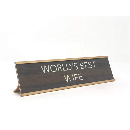 Aahs Engraving World's Best. Novelty Nameplate Style Desk Sign (Brown/Gold, World's Best