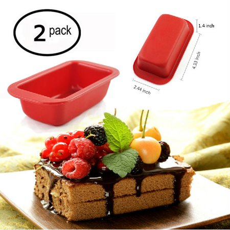 iClover [2 Pack] Food-Grade Silicone Rectangle Bread Cake Baking Mold Non-Stick Bakeware Perfect for Chocolate, Cake, Ice Cream Microwave Dishwasher safe for Birthday Valentine's Day Gift