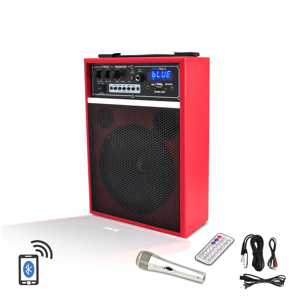 Pyle 300-Watt 6.5'' Bluetooth Portable PA Speaker System with Built-in Rechargeable Battery PWMAB250RD