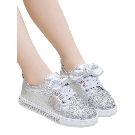 KidUtowu Toddler Girls Kids Trainers Shoes Sneaker Children Infant Glitter Sequin (Girl's Silver Glitter Shoes)