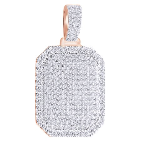 2.5 Cttw Round White Natural Diamond Iced Out Hip Hop Jewelry Dog Tag Pendant In 14k Solid Rose
