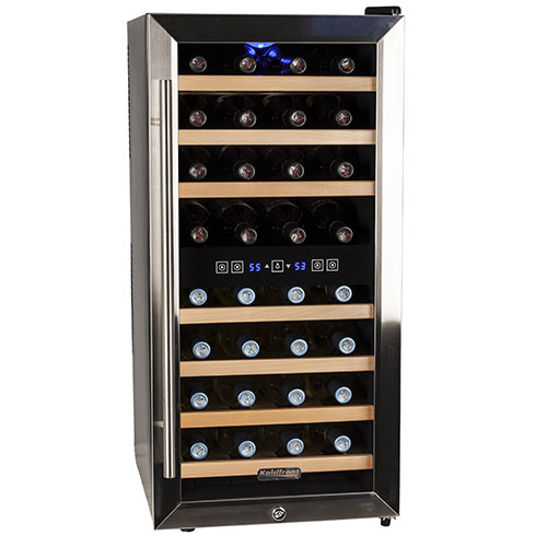 "Koldfront TWR327E 16"" Wide 32 Bottle Wine Cooler with Dual Cooling Zones"