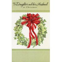 Wreath with Red Ribbon: Daughter Christmas Card by Freedom Greetings