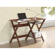 Techni Mobili X Frame Writing Desk with Side Shelves, Oak (RTA-8402-OAK)