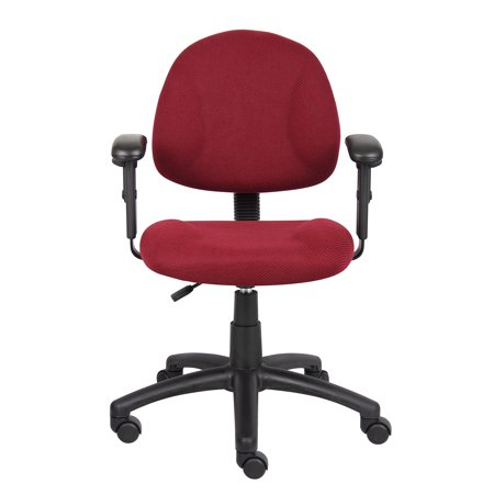 Deluxe Posture Chair with Adjustable Arms Burgundy - Boss Office Products