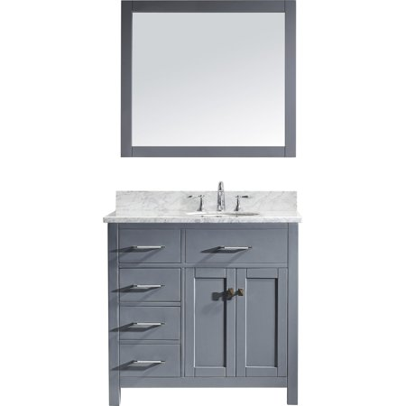 Virtu Ms 2136L Wmro Gr Caroline Parkway 36 Inch Single Bathroom Vanity Set In Grey