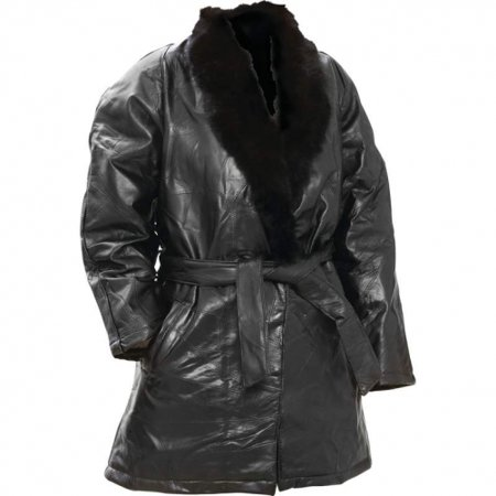 Arielle Genuine Lambskin Leather Ladies Coat with Genuine Rabbit Fur Collar Leather Coat With Fur Collar