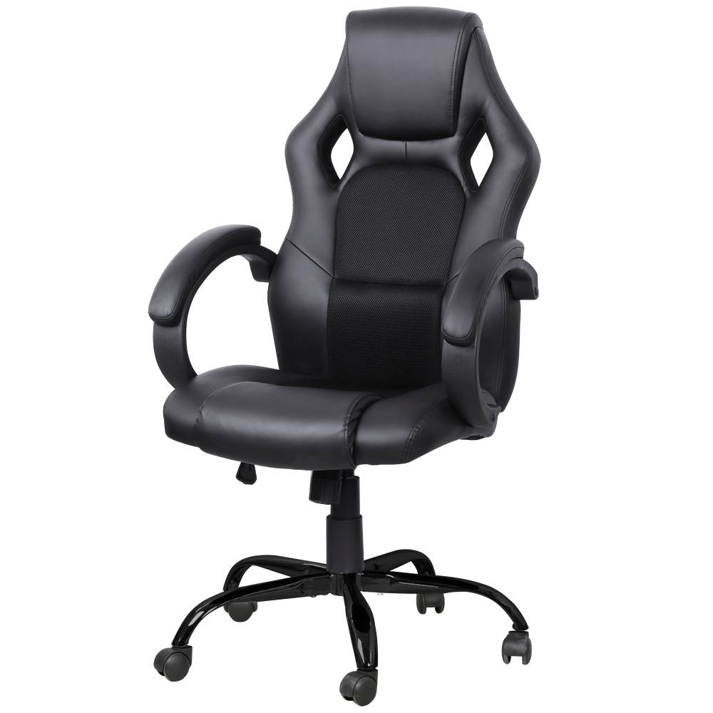 Yaheetech Ergonomic Series High-back Executive Racing Style Adjustable Seat Computer Gaming Office Chair (Black)