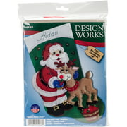 "Santa and Deer Stocking Felt Applique Kit, 18"" Long"