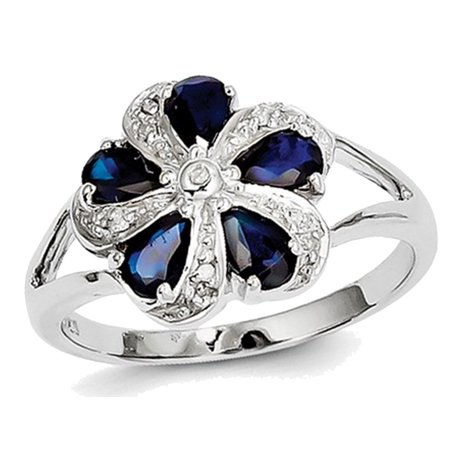 Natural Sapphire Flower Ring 2.00 Carat (ctw) in Sterling Silver - image 2 of 2