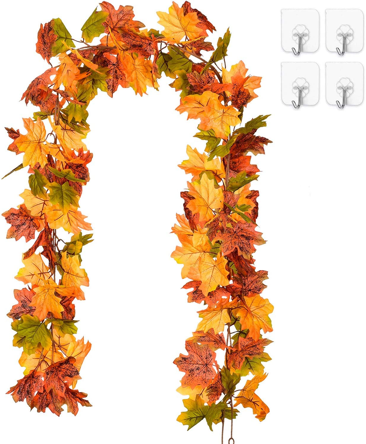 Coolmade 2 Pack Maple Leaves Fall Garland 6ft Strand Artificial Fall Foliage Garland Colorful Autumn Decoration For Home Wedding Party Thanksgiving Walmart Com Walmart Com