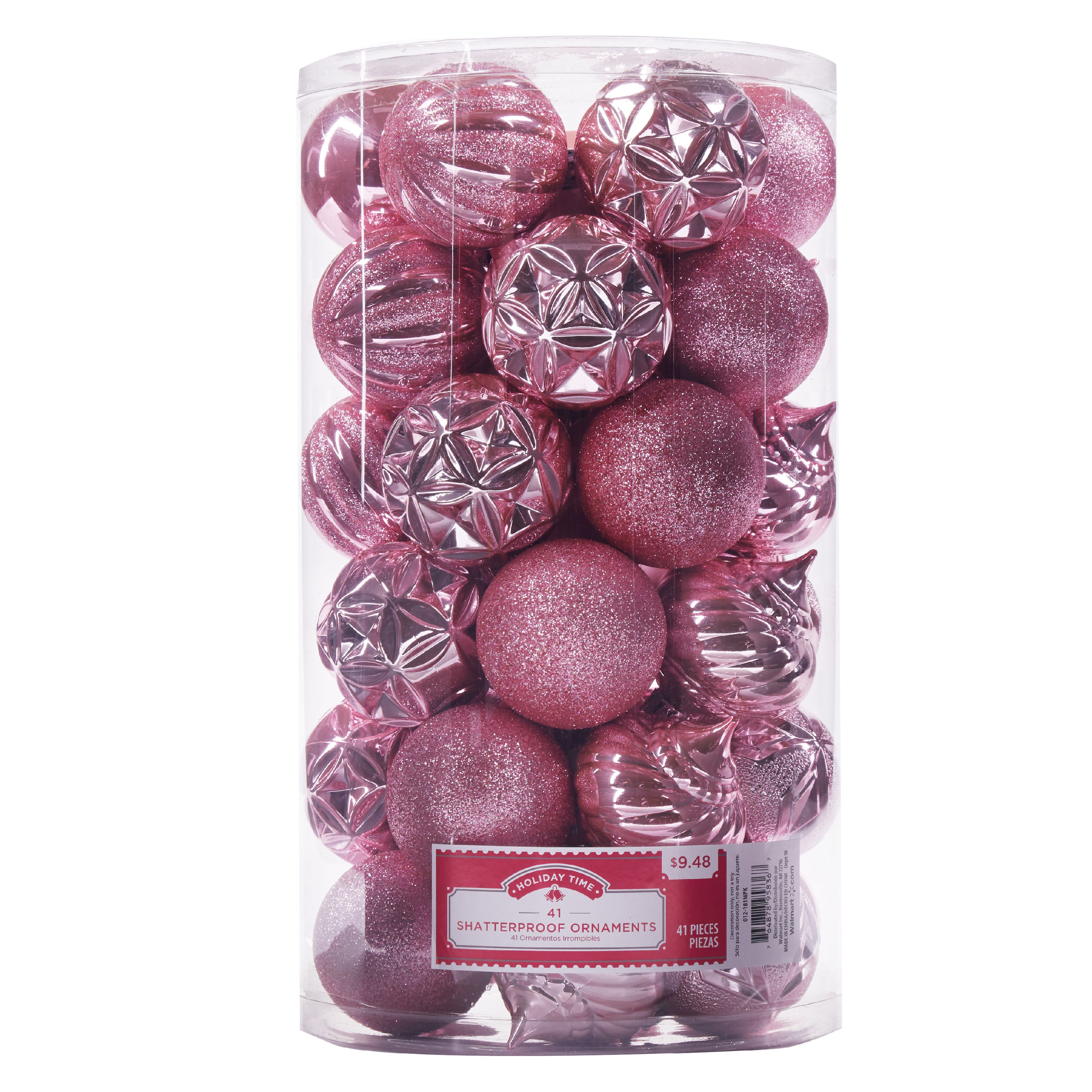 Holiday Time Shatterproof Ornaments, Pink, 41 Count