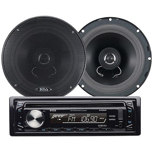 "Boss Audio 654CK In-Dash CD/MP3 Receiver (648UA) Plus 6.5"" 2-Way Full-Range Speakers"