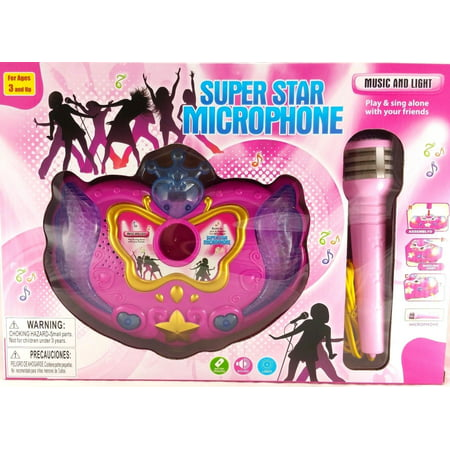 B/O Party Favors Karaoke Super Star Blue Microphone Toy with Music and Sound - Rock Star Microphone