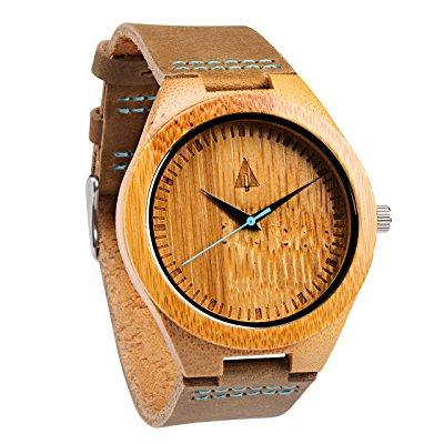 Tree Hut treehut mens wooden bamboo watch with genuine br...