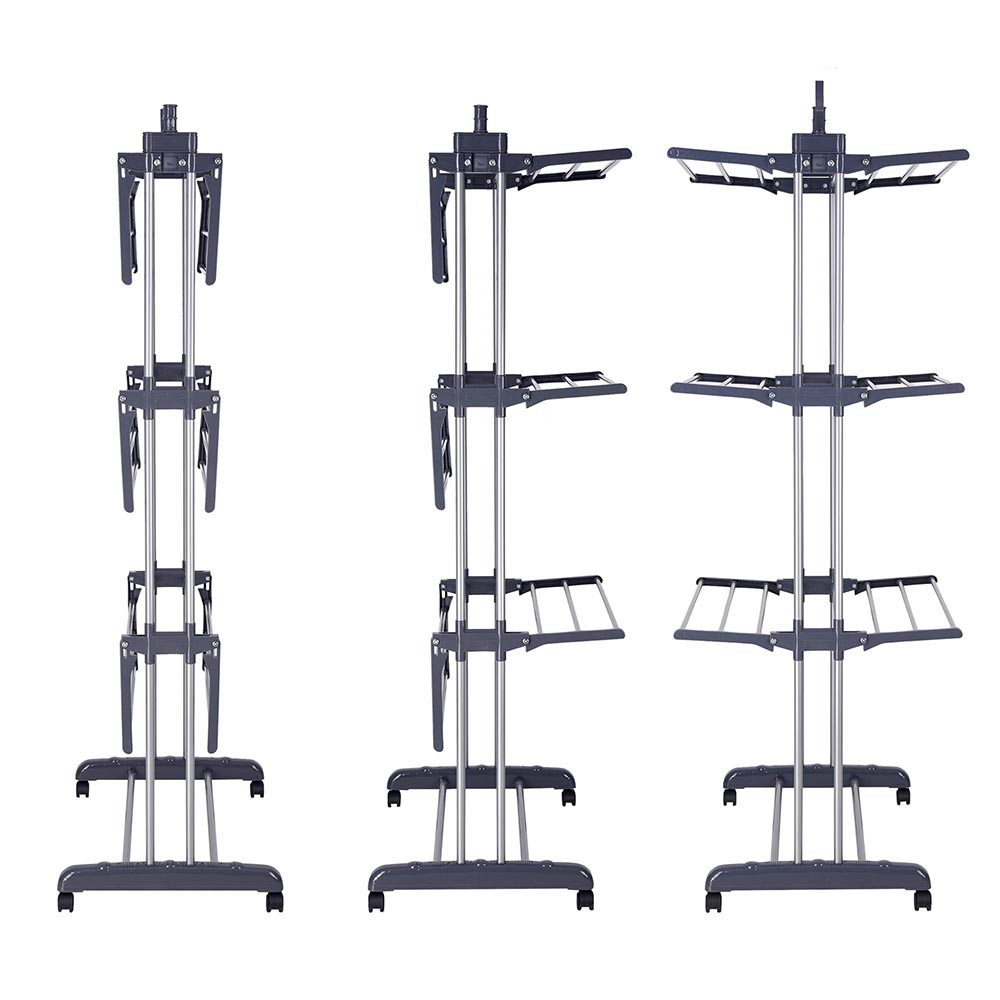 Generic 3 Tier Clothes Dryer Rack Foldable Laundry Drying Hanger Airer Compact Storage Steel Indoor Outdoor With 4 Rolling Lockable Casters