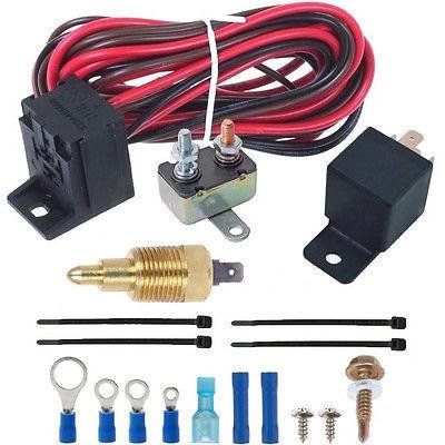 180'F Electric Fan Thermostat Wiring Install Kit 3/8