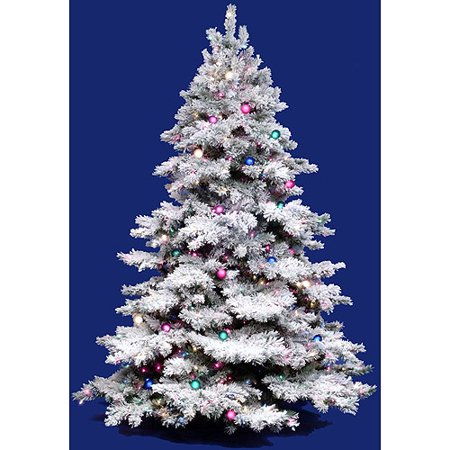Pre Lit 36 X 24 Alaskan Dura Lit Artificial Christmas Tree Flocked White On Green Multi Colored Lights
