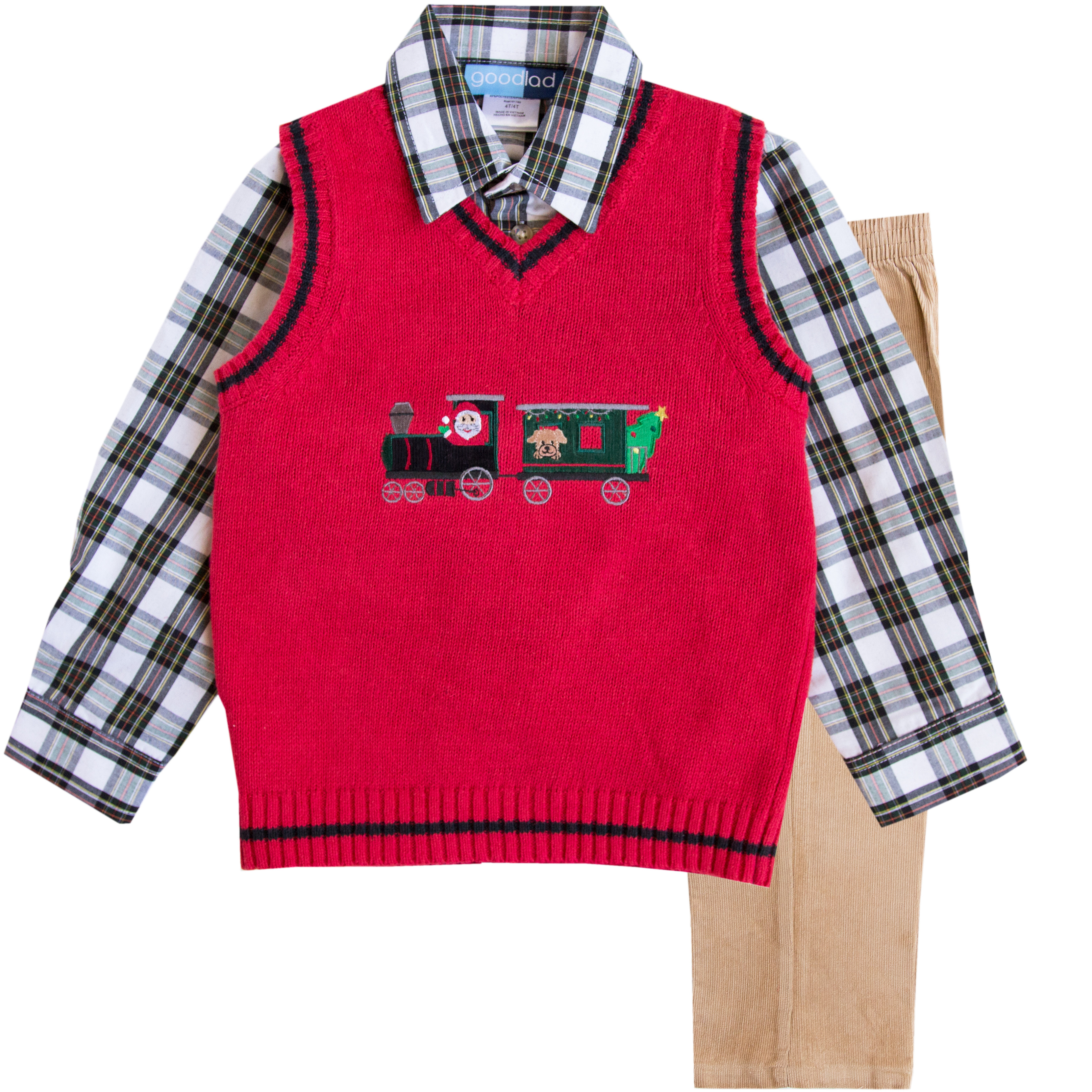 Good Lad Toddler Boys Red Christmas Train Appliqued Sweater Vest Set