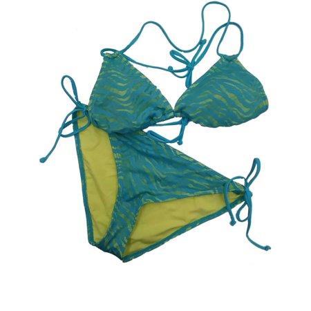 Womens Neon Blue Green Tiger Zebra Print 2 Piece Swim Suit Bikini Swim Set Splash Nylon Bikini